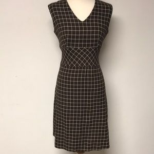 Vintage 1960s Brown & White Day Dress
